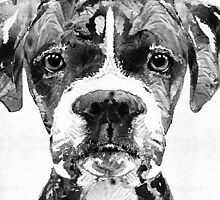 Black And White Boxer Dog Art By Sharon Cummings  by Sharon Cummings