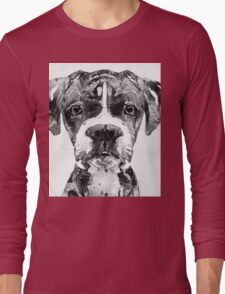 Black And White Boxer Dog Art By Sharon Cummings  Long Sleeve T-Shirt