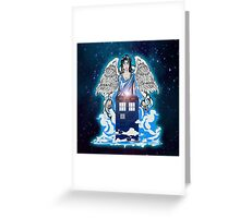 The angel has a phone box Greeting Card