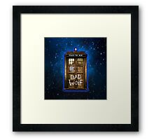 Old Rustic wood Phone box with Bad Wolf typograph Framed Print