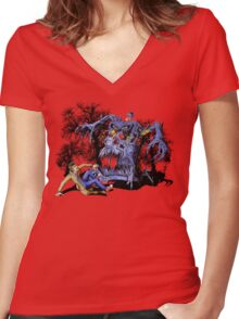 Weird Cursed British blue Phone box Monster Women's Fitted V-Neck T-Shirt