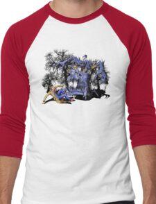 Weird Cursed British blue Phone box Monster Men's Baseball ¾ T-Shirt