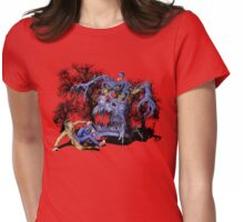 Weird Cursed British blue Phone box Monster Womens Fitted T-Shirt