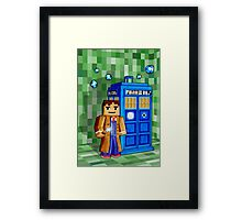 8bit blue phone box with space and time traveller Framed Print