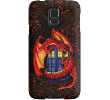 Blue phone box with Smaug The Red wyvern dragon Samsung Galaxy Case/Skin