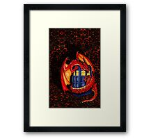 Blue phone box with Smaug The Red wyvern dragon Framed Print