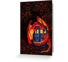 Blue phone box with Smaug The Red wyvern dragon Greeting Card