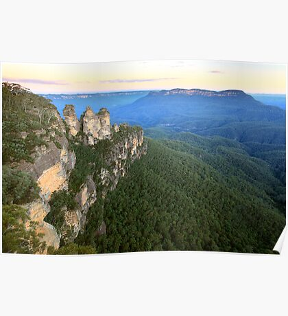 Three Sisters Twilight, Blue Mountains, Australia Poster