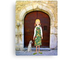 """""""Little girl wearing insect dress with dog """" Canvas Print"""