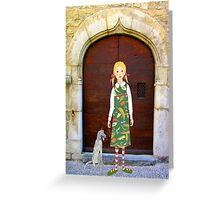 """""""Little girl wearing insect dress with dog """" Greeting Card"""