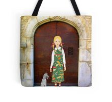 """Little girl wearing insect dress with dog "" Tote Bag"