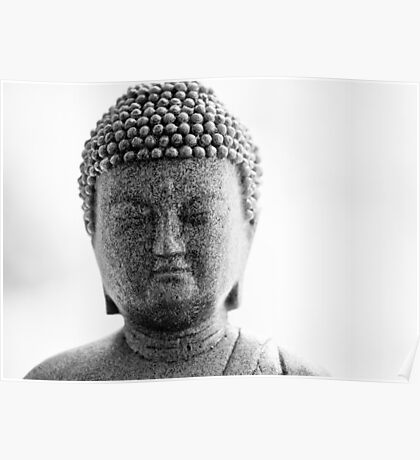 Buddha in Black and White Poster