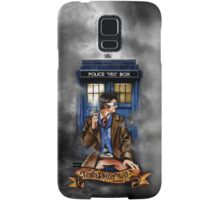 Mysterious Time traveller with blue Phone box Samsung Galaxy Case/Skin