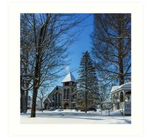 Winter in the Village Art Print