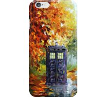 Autumn British Blue phone box painting iPhone Case/Skin