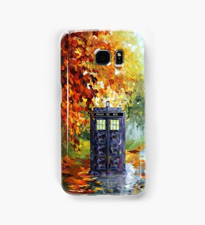 Autumn British Blue phone box painting Samsung Galaxy Case/Skin
