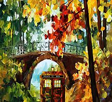 Abandoned time travel phone box under the bridge painting by Arief Rahman Hakeem