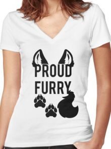 PROUD FURRY   -black- Women's Fitted V-Neck T-Shirt
