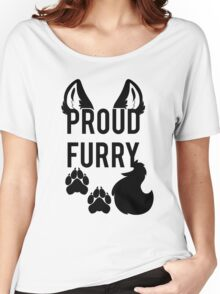 PROUD FURRY   -black- Women's Relaxed Fit T-Shirt