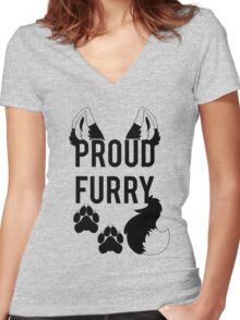 PROUD FURRY  -clear tips- Women's Fitted V-Neck T-Shirt
