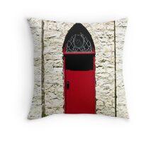 Red Church Door Throw Pillow