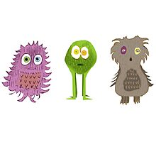 3 Cute Monsters Photographic Print