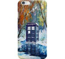 Winter British Blue phone box painting iPhone Case/Skin