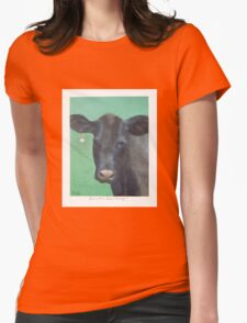 Cow with a Pearl Earring Womens Fitted T-Shirt
