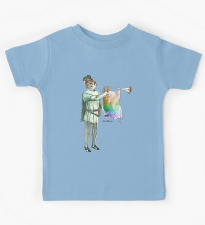 Rainbow Cat with Horn Kids Tee