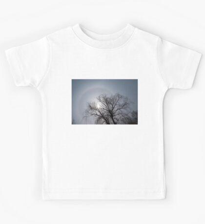 Sun Halo, Trees And Silver Gray Winter Sky Kids Tee