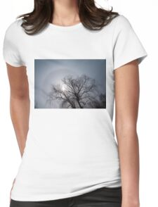 Sun Halo, Trees And Silver Gray Winter Sky Womens Fitted T-Shirt