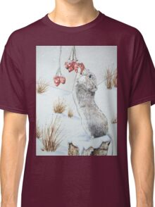 Cute mouse and red berries snow scene wildlife art   Classic T-Shirt