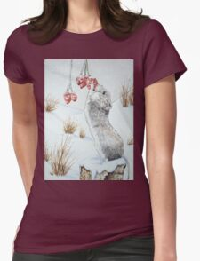 Cute mouse and red berries snow scene wildlife art   Womens Fitted T-Shirt