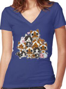 Airou & Merorou Monster Hunter cats Women's Fitted V-Neck T-Shirt