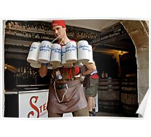 Waiter with 12 krugs of beer & shandy, Erlangen Fair, Germany Poster