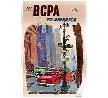 Fly BCPA to America Vintage Poster Restored Poster