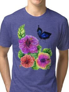 Painted Hibiscus Tri-blend T-Shirt