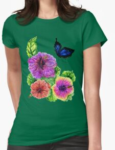 Painted Hibiscus Womens Fitted T-Shirt