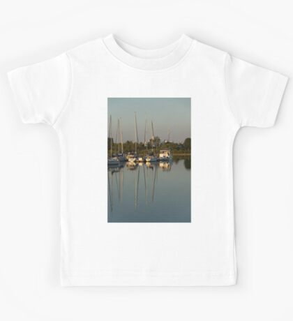 Quiet Summer Afternoon - Boats and Downtown Skyline Kids Tee