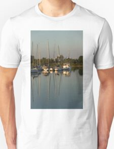 Quiet Summer Afternoon - Boats and Downtown Skyline T-Shirt