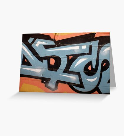 Orange Blue Graffiti Greeting Card