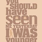 You should have seen me yesterday. I was younger. by JoeCitizen