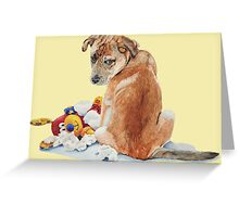 cute brown puppy with torn teddy bear Greeting Card