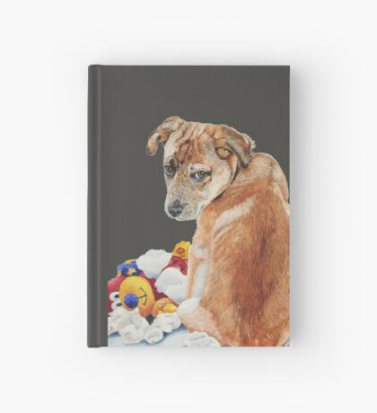 cute brown puppy with torn teddy bear Hardcover Journal