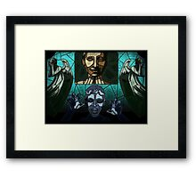 Weeping angels stained glass Framed Print