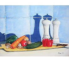 quirky still life realist art peppers and vegetables  Photographic Print