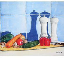 quirky still life realist art peppers and vegetables  by pollywolly