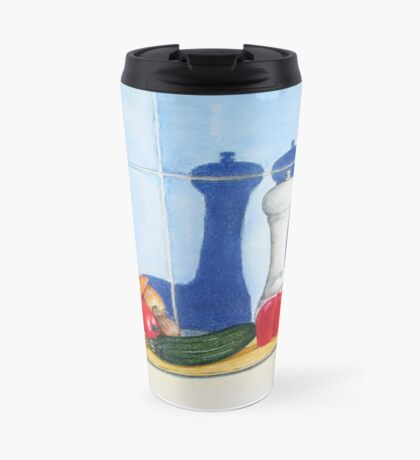 quirky still life realist art peppers and vegetables  Travel Mug