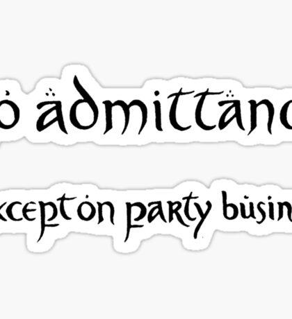 no admittance Sticker