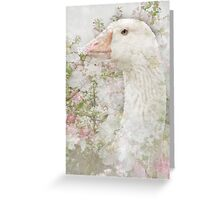 Goose in Spring Blossoms Greeting Card